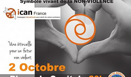 Journée INTERNATIONALE de la NON VIOLENCE. TOULOUSE. 2 Octobre 2019. ATTENTION!