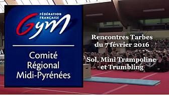Compétition Gym à #Tarbes: Sol, Saut mini trampoline et Trumbling @ffgymnastique
