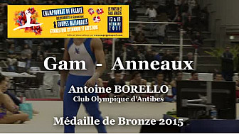 GAM Anneaux :Antoine BORELLO au Championnat National Séniors de Ponts de Cé  @ffgymnastique #TvLocale_fr #coupenat2015