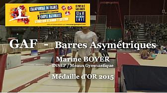 GAF Barres Asymétriques : Marine BOYER Médaille d'OR au Championnat National Séniors de Ponts de Cé  @ffgymnastique #TvLocale_fr #coupenat2015
