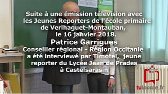 Interview de Patrice Garrigues, Conseiller régional de la région Occitanie, après son intervention avec les Jeunes Reporters de l'école George Sand Verlhaguet- Montauban.