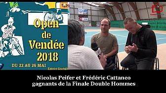 Open de Vendée Tennis Fauteuil 2018 : Nicolas Peifer et Frédéric Cattanéo remporte la Finale en double Hommes.