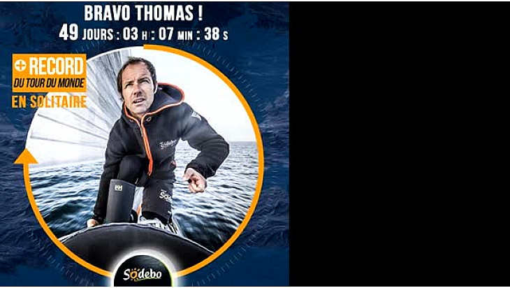 Thomas COVILLE sur SODEBO Ultim' a battu le Record du Tour du Monde Multicoques en Solitaire @Sodebo_Voile #VG2016 #TDMSodebo