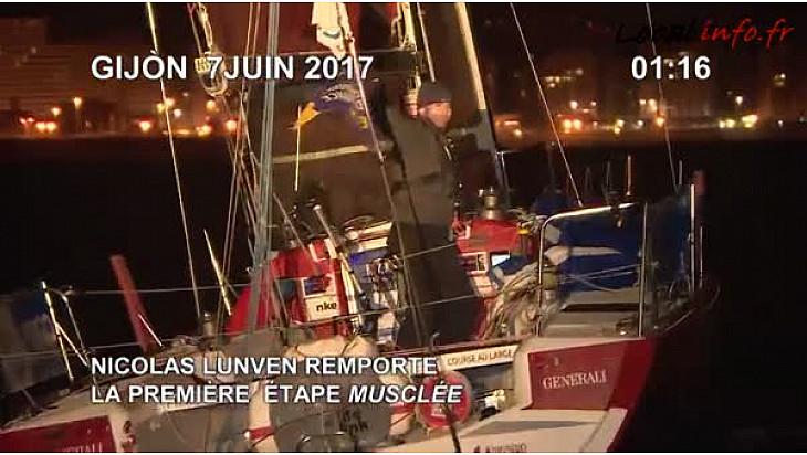 Nicolas Lunven (Generali) vainqueur de la 1ere etape de la Solitaire Urgo Le Figaro 2017 entre Bordeaux et Gijon - le 06/06/2017