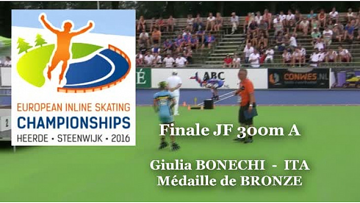 Giulia BONECHI ITA Médaille de Bronze au Championnat d'Europe  RollerPiste 2016 d'Heerde : Finale JF 300m vitesse A @FFRollerSports #TvLocale_fr