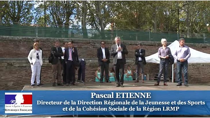 @SentezVousSport Toulouse: Pascal Etienne Directeur Régional de la Jeunesse et des Sports et de la Cohésion Sociale au micro de Michel Lecomte de #TvLocale_fr