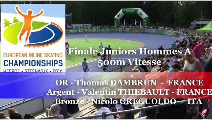 Thomas DAMBRUN du Valence Roller Sports Champion d'Europe  RollerPiste 2016 d'Heerde : Finale A JH 500m vitesse @FFRollerSports #TvLocale_fr