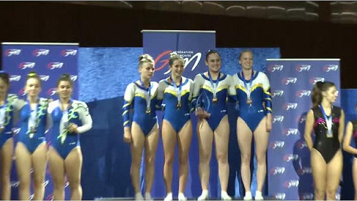 Trampoline Championnat de France par équipe 2017 en Nationale 1 Femmes: le Levallois Sporting Club Trampoline médaille d'OR à Colomiers