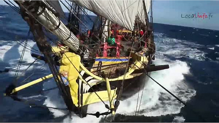 Alerte Météo l'Hermione confrontée au Coup de Vent au large des côtes Lusitaniennes @LHERMIONE_SHIP @Localinfo_fr @TvLocale