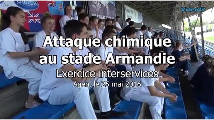 Vidéo 6'20''. Attaque terroriste chimique au stade Armandie à Agen.