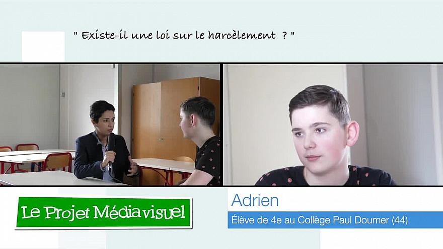 'Jeunes Reporters Sans Frontières' de TvSurErdre : Adrien, 13 ans,'Existe-t-il une loi sur le harcèlement' ? @sarahelhairy
