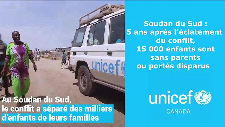 Soudan du Sud : cinq ans après l'éclatement du conflit, 15 000 enfants sont sans parents ou portés disparus  @UNICEFQuebec