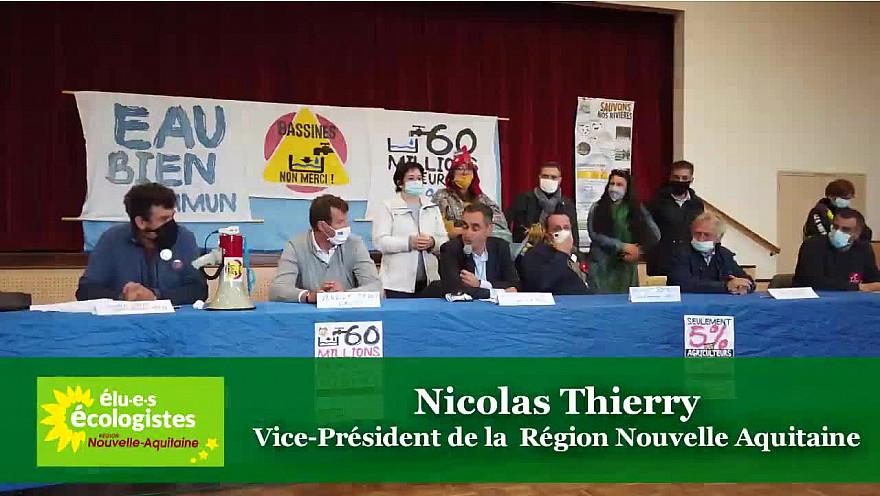 'BASSINES NON MERCI' Nicolas Thierry vice-président de la Région Nouvelle Aquitaine s'oppose à ce projet de retenues de substitution. @EELV @nthierry @NvelleAquitaine @BenoitBiteau