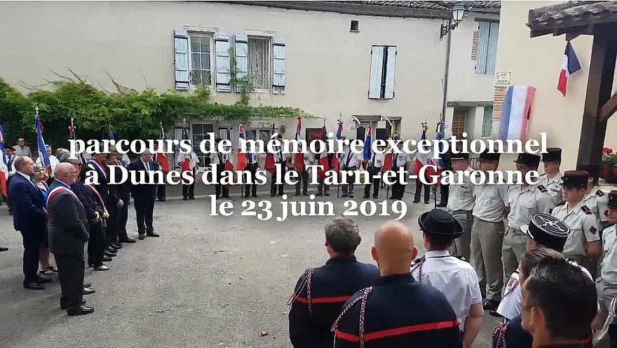 Jean Moulin, Charles de Gaulle, 14 Martyrs pendus par les nazis, 3 cérémonies en une dans le village de Dunes en Tarn-et-Garonne