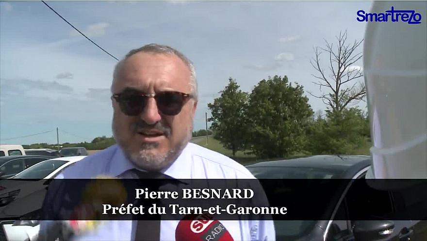 COVID-19 Pierre Besnard Préfet du Tarn-et-Garonne répond aux questions des journalistes Après la visite d'un chantier autoroutier de Vinci.  @Prefet_82 @PrefetOccitanie @tarnetgaronne82