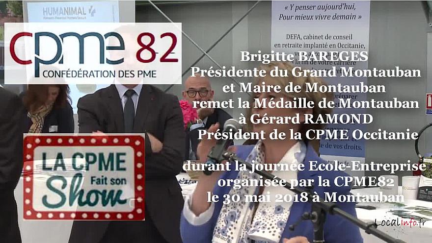 Gérard RAMOND Président de la CPME Occitanie, mis en avant par Brigitte BAREGES maire de Montauban à la journée de la CPME82 @CPMEoccitanie #CPME82